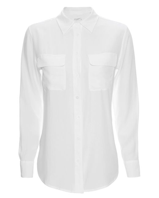 Equipment - White Slim Signature Double Flap Pocket Blouse - Lyst