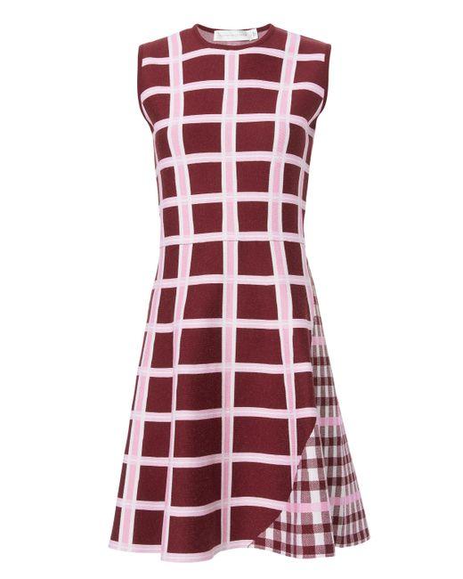 Victoria Beckham   Red Intarsia Wide Stripe Kick Dress   Lyst