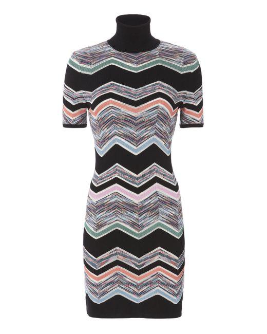 Missoni   Black Zig Zag Short Sleeved Turtleneck Dress   Lyst