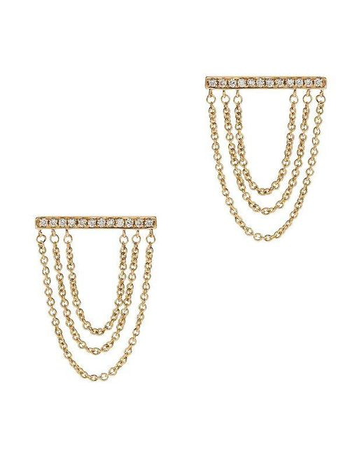 Sydney Evan | Metallic Tripe Chain Diamond Bar Stud Earrings | Lyst