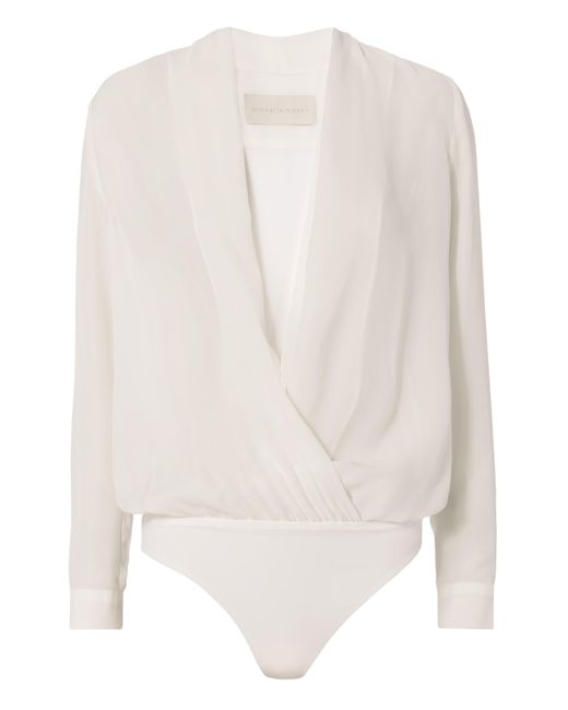Michelle Mason | White Cross Front Bodysuit Blouse | Lyst