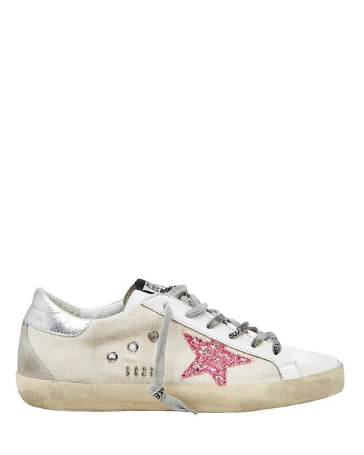 72f500575b9c Golden Goose Deluxe Brand - Superstar Pink Glitter Star Canvas Low-top  Sneakers - Lyst ...