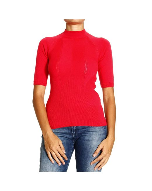 Giorgio Armani | Red Sweater Short Sleeves Round Neck Cachemire | Lyst
