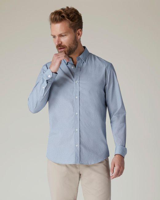 Jaeger Blue Geometric Square Printed Shirt for men