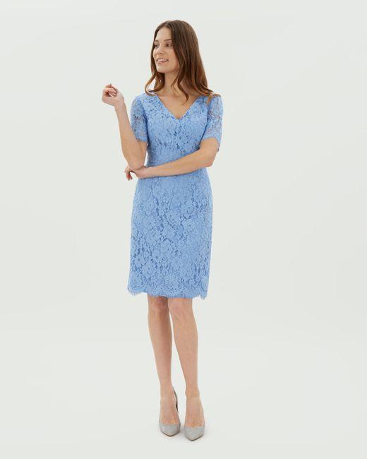 Jaeger - Blue V-neck Scalloped Lace Dress - Lyst