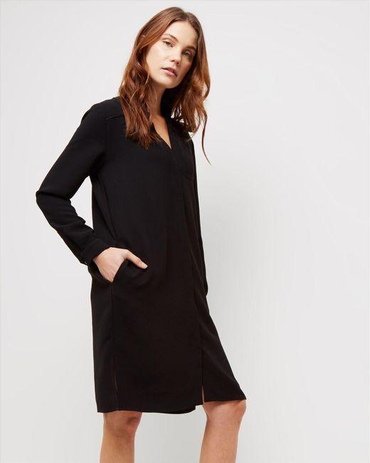 Jaeger | Black Collarless Split Hem Dress | Lyst