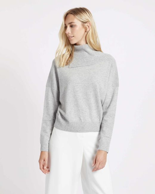 Jaeger Cashmere Cropped Split Cowl Neck Sweater in Gray | Lyst