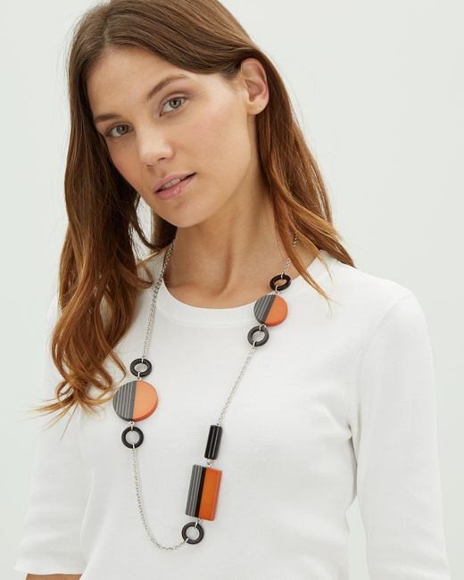 Jaeger - Orange Graphic Resin Station Necklace - Lyst