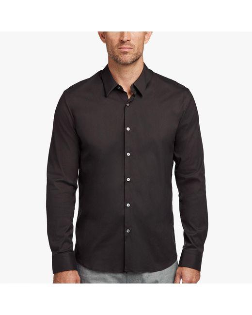 James Perse Black Matte Stretch Poplin Dress Shirt for men
