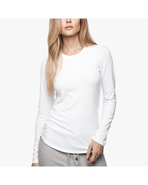 James Perse   White Brushed Jersey Long Sleeve Crew   Lyst