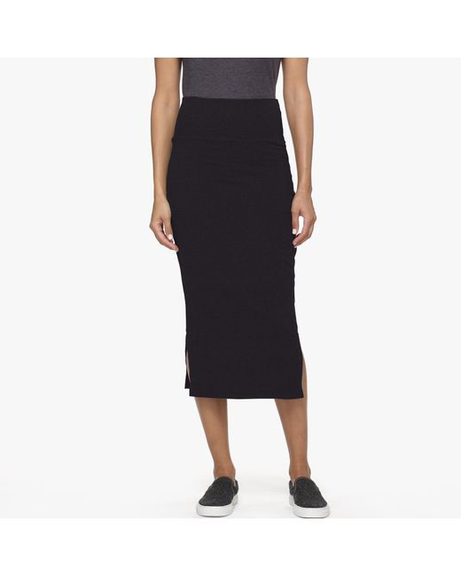 James Perse | Black Double Split Midi Skirt | Lyst
