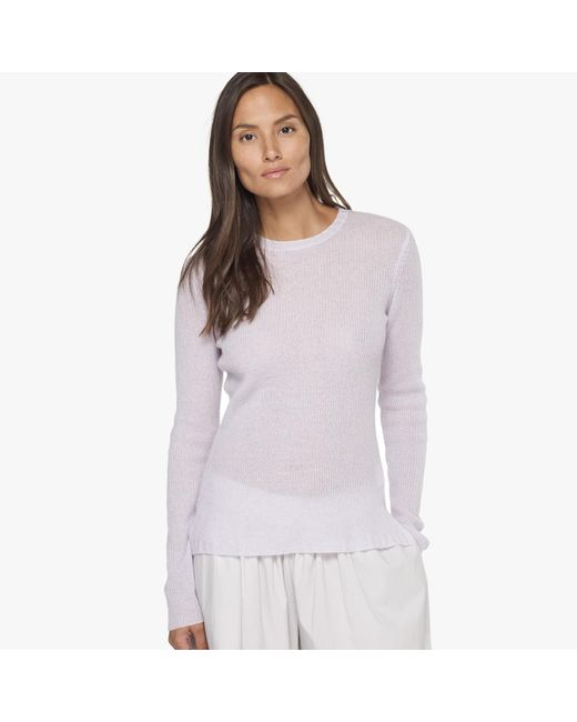 James Perse   White Ribbed Cashmere Sweater   Lyst