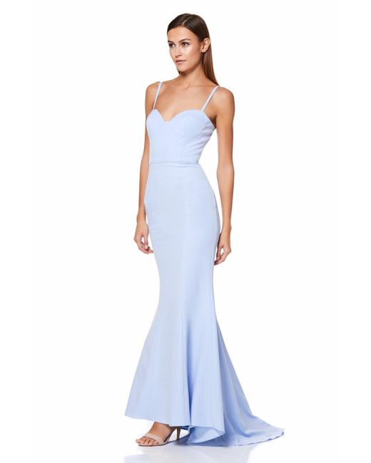 Jarlo - Blue Olive Fishtail Maxi Dress With Button Back - Lyst