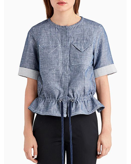 Jason Wu   Blue Short Sleeve Denim Double Face Top With Cinched Waist   Lyst