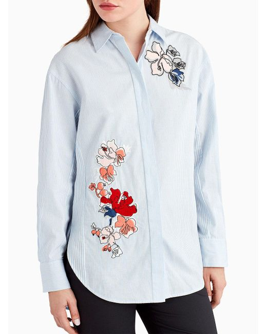 Jason Wu | Blue Button Down Stripe Shirt With Embroidery Detail | Lyst