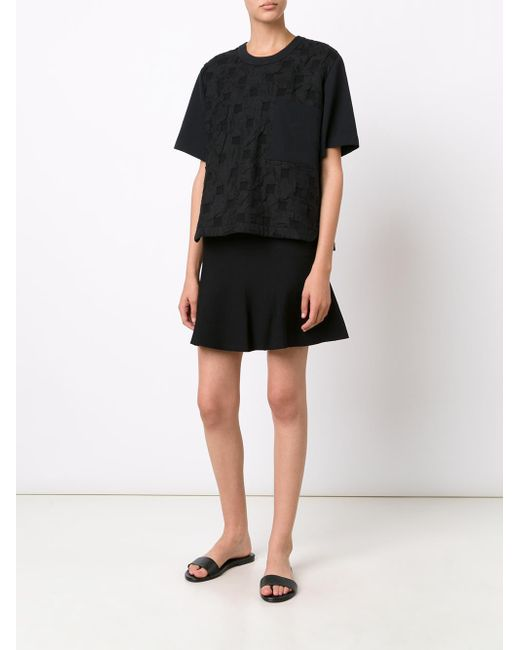Jason Wu | Black Short Sleeve Cloque Top | Lyst