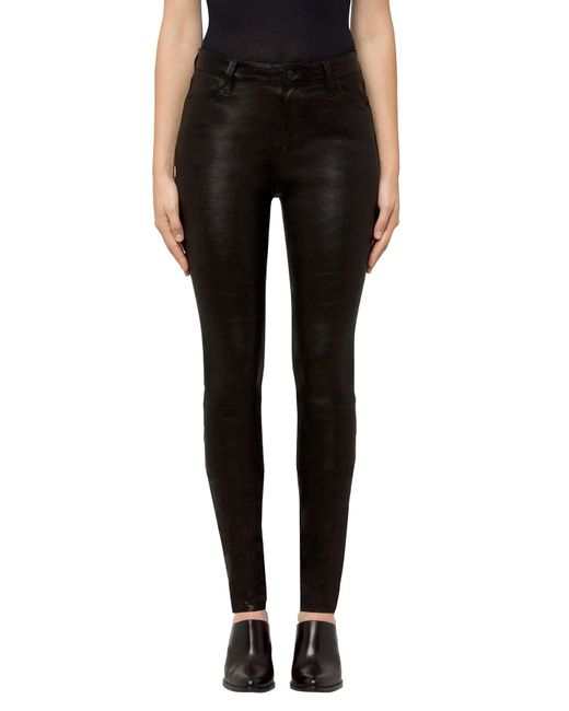 J Brand - Maria High-rise Super Skinny In Black Leather - Lyst