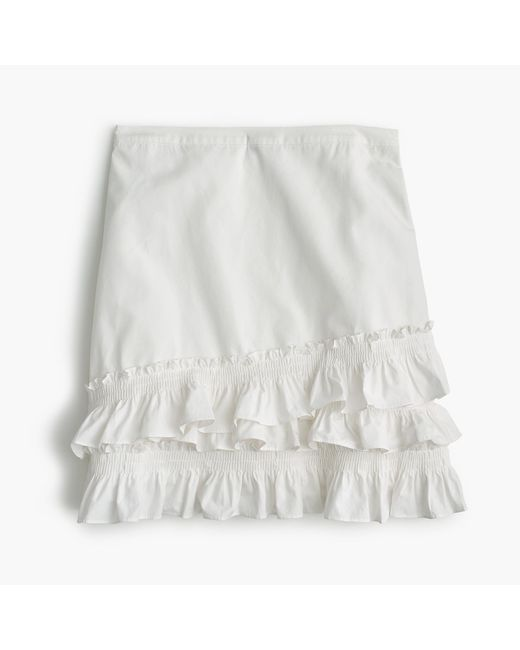 J.Crew - White Ruffle Skirt In Cotton-poplin - Lyst