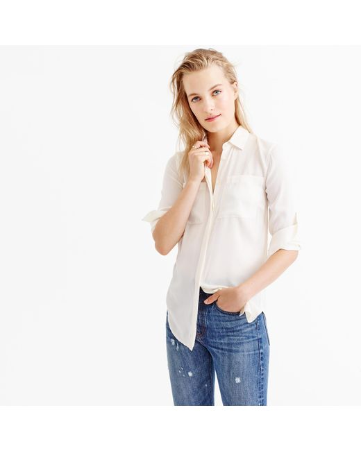 J.Crew | White Tall Silk Pocket Blouse | Lyst