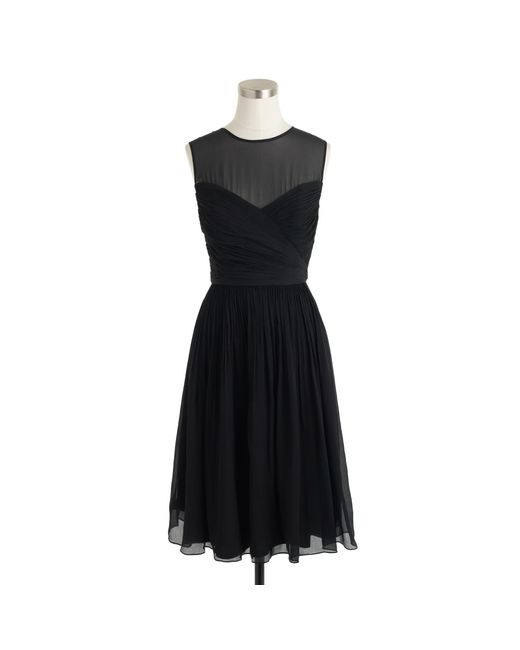J.Crew | Black Petite Clara Dress In Silk Chiffon | Lyst