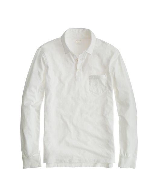 J.Crew | White Tall Broken-in Long-sleeve Pocket Polo Shirt for Men | Lyst