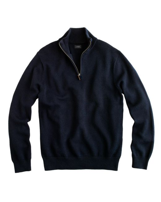 J.Crew | Black Cotton-cashmere Half-zip Sweater for Men | Lyst