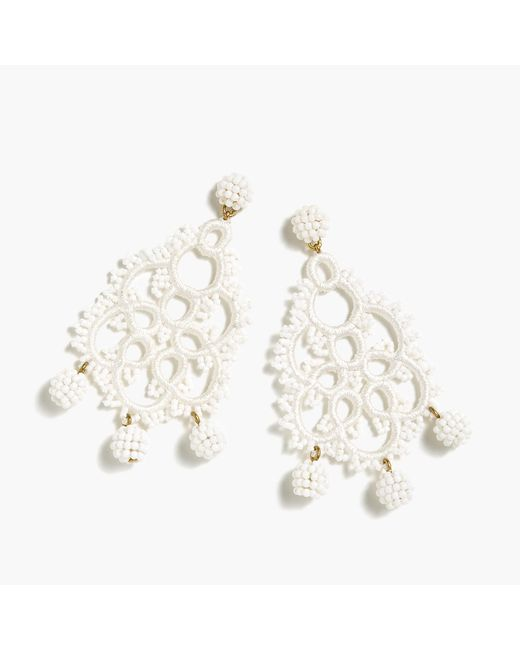 J.Crew - White Bead-and-embroidery Earrings - Lyst