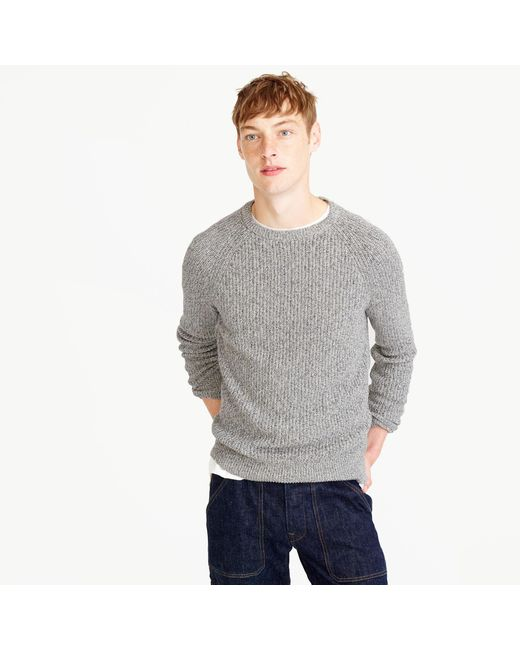 J.Crew | Gray Marled Cotton Crewneck Sweater for Men | Lyst