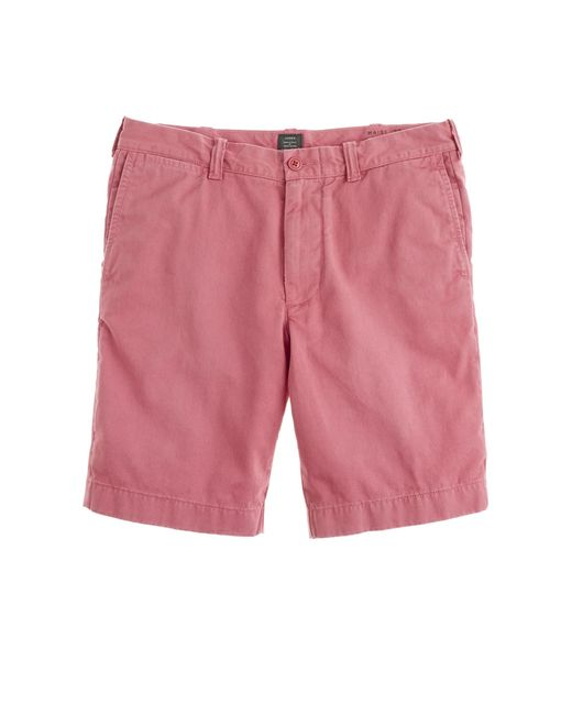 "J.Crew | Pink 9"" Stanton Short In Garment-dyed Cotton for Men 