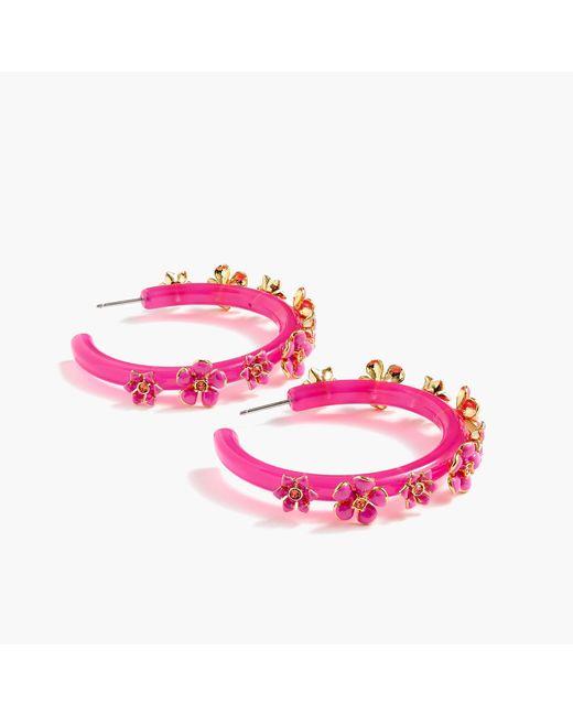 J.Crew - Pink Flower Clock Hoop Earrings - Lyst