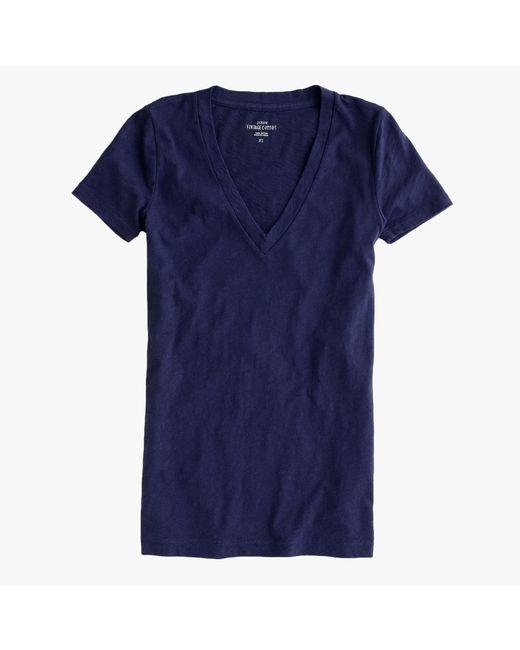 J.Crew | Blue Vintage Cotton V-neck T-shirt | Lyst