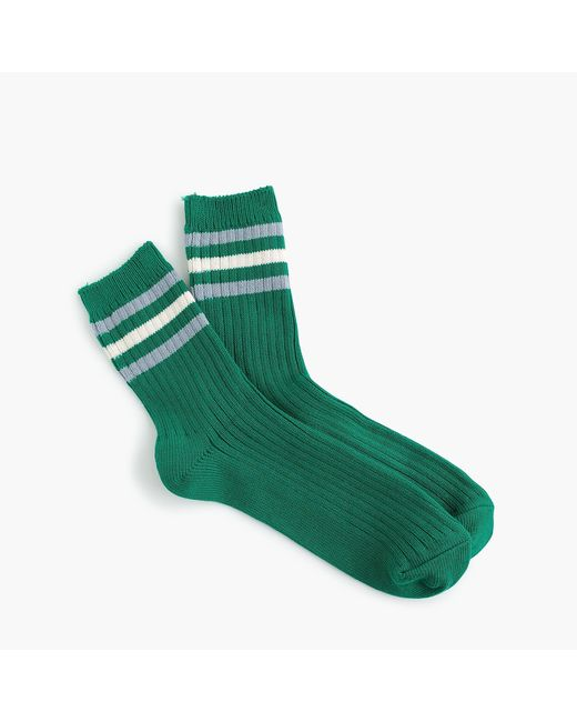 J.Crew - Green Ankle Boot Socks In Rugby Stripe - Lyst