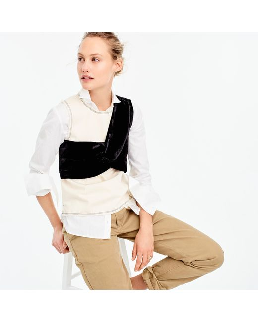 J.Crew | Collection Natural Denim Top With Velvet Overlay | Lyst