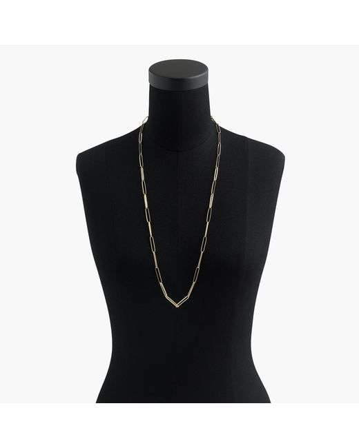 J.Crew - Metallic Demi-fine 14k Gold-plated Long Paper Clip Necklace - Lyst