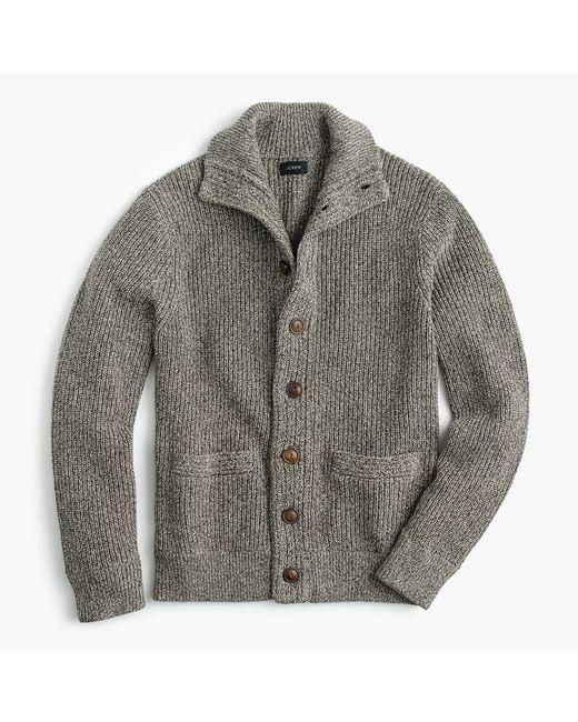 J.Crew - Gray Marled Cotton Mockneck Cardigan Sweater for Men - Lyst