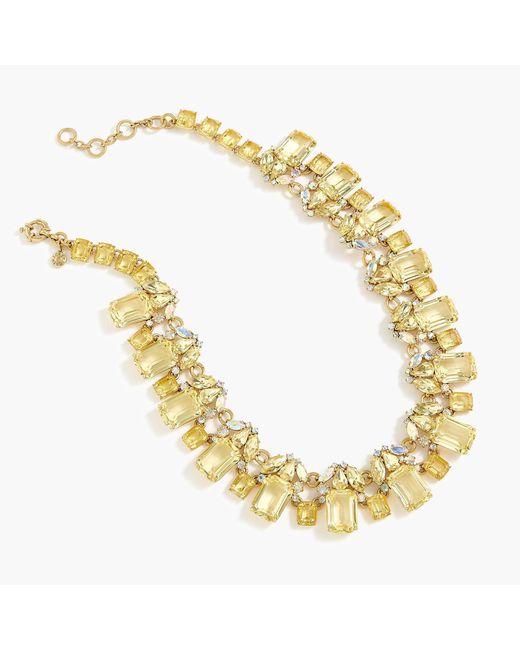 J.Crew - Metallic Cluster Drop Stone Necklace - Lyst