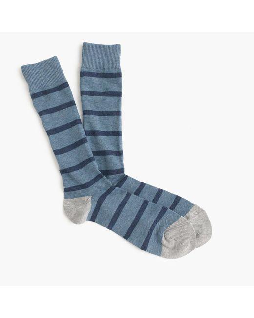 J.Crew | Blue Naval-striped Socks for Men | Lyst