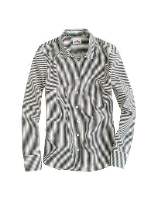 J.Crew   Black Stretch Perfect Shirt In Classic Stripe   Lyst
