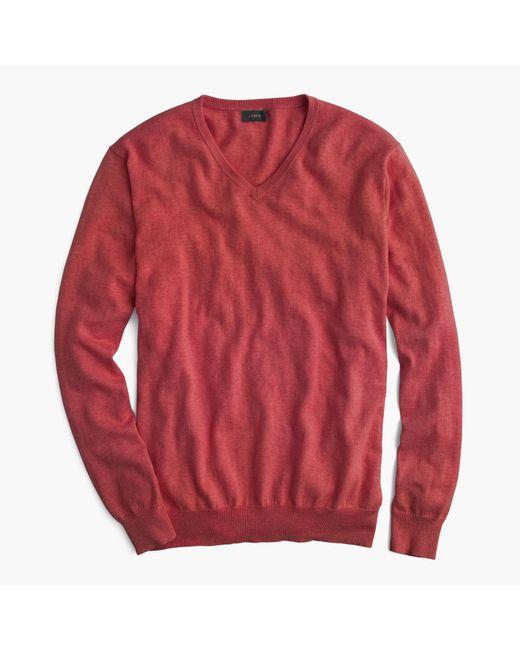 J.Crew | Red Slim Cotton-cashmere V-neck Sweater for Men | Lyst