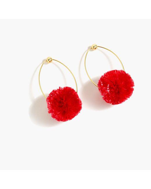 J.Crew - Red Raffia Pom-pom Earrings - Lyst