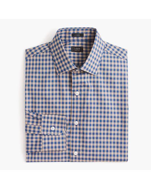 J.Crew | Blue Ludlow Slim-fit Spread-collar Shirt In Microgingham for Men | Lyst
