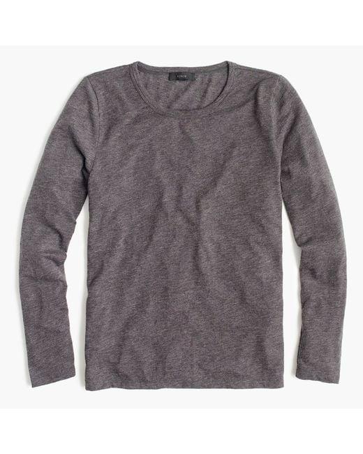 J.Crew | Gray Long-sleeve Crewneck T-shirt In Slub Cotton | Lyst
