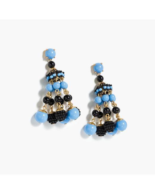 J.Crew | Blue Beaded Chandelier Earrings | Lyst