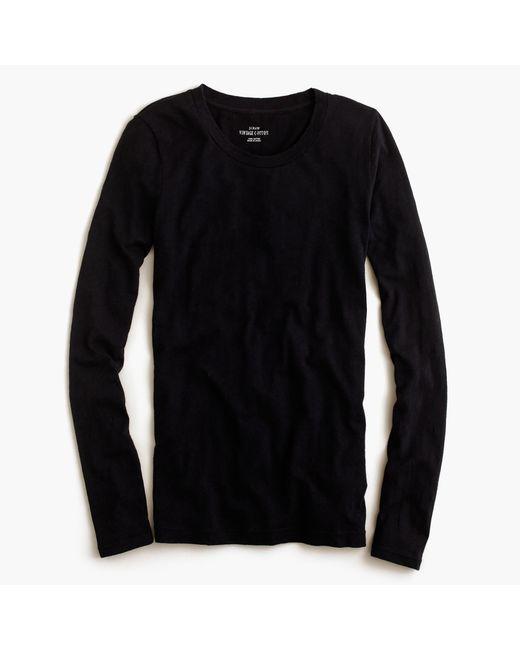 J.Crew   Black Vintage Cotton Long-sleeve T-shirt   Lyst