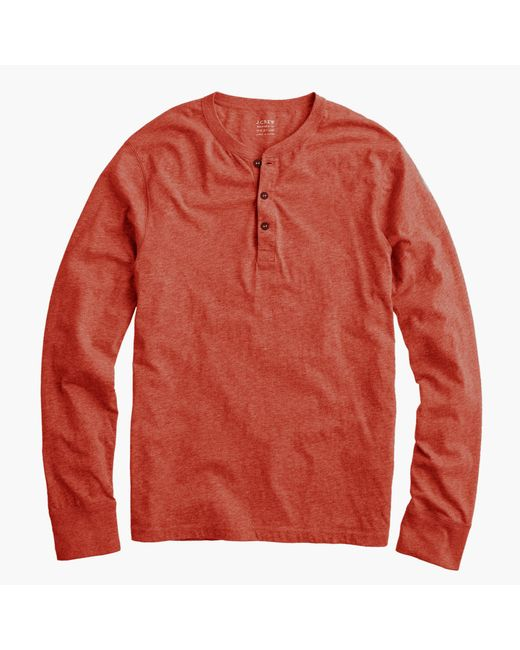 J.Crew | Red Slim Broken-in Henley for Men | Lyst