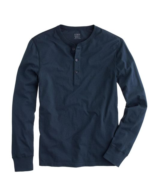 J.Crew | Blue Slim Broken-in Henley for Men | Lyst