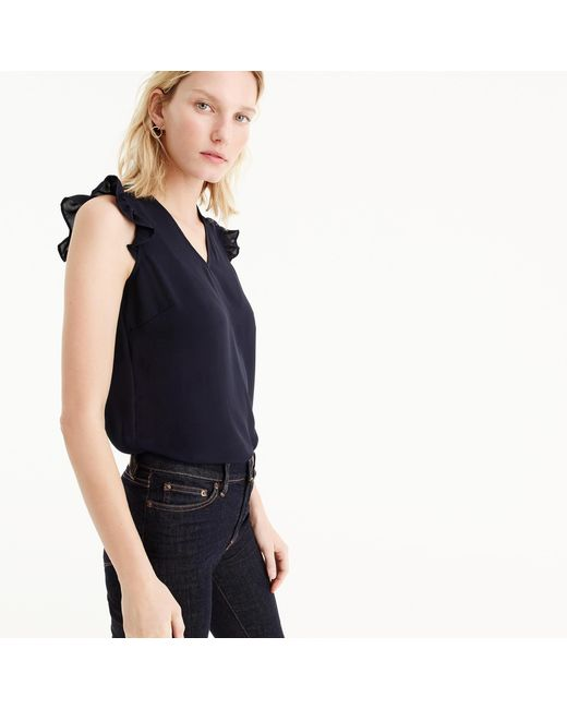 J.Crew | Blue Petite Sleeveless Ruffle Top | Lyst