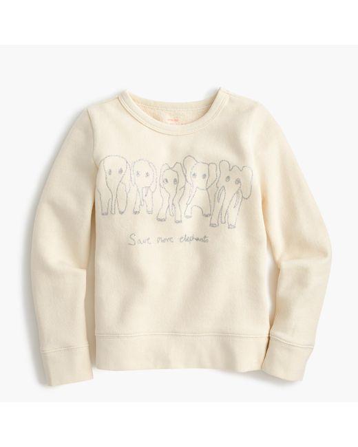 J.Crew | Natural Girls' Crewcuts For David Sheldrick Wildlife Trust Save More Elephants Sweatshirt | Lyst