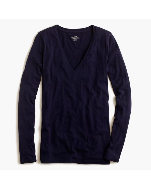 J.Crew | Blue Vintage Cotton Long-sleeve V-neck T-shirt | Lyst