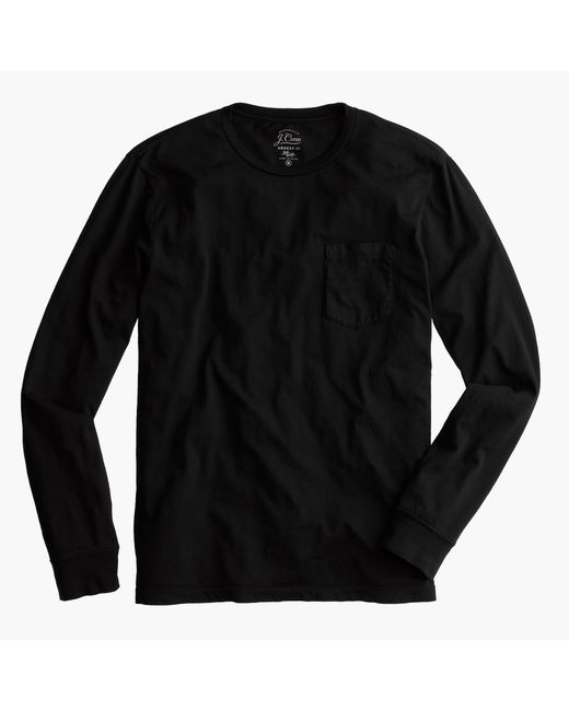 J.Crew | Black Broken-in Long-sleeve Pocket T-shirt for Men | Lyst